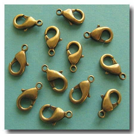 Lobster Clasp | Antique Brass | 15x9mm | 6 pieces
