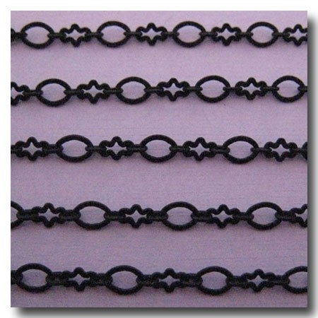 Matte Black Abstract Flower Chain