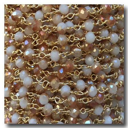 Moonstone Peach and White Hydro Stone Chain | Gold Plate | 3mm