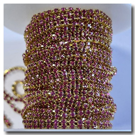 Party Pink Rhinestone Cup Chain 2mm | Gold
