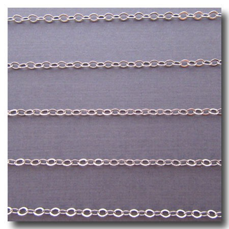 Rhodium Plate Petite Flat Cable Chain 2mm