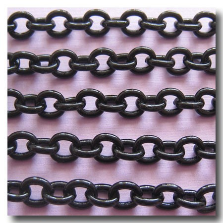 Shiny Black Contemporary Small Cable Chain 6mm x 5mm