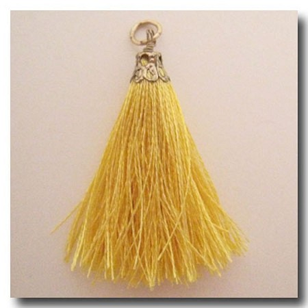 Silk Tassel | One Inch | Sunshine Yellow | Antique Gold Cap