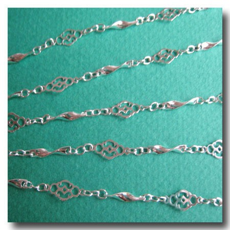 Silver Plate Filigree Vintage Style Chain