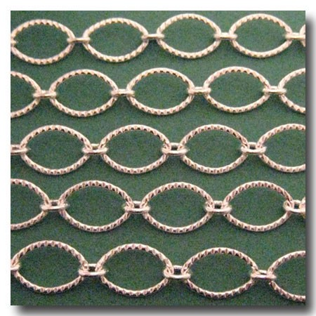 Silver Plate Large Crimped Oval Style Chain 15.5 x 10mm
