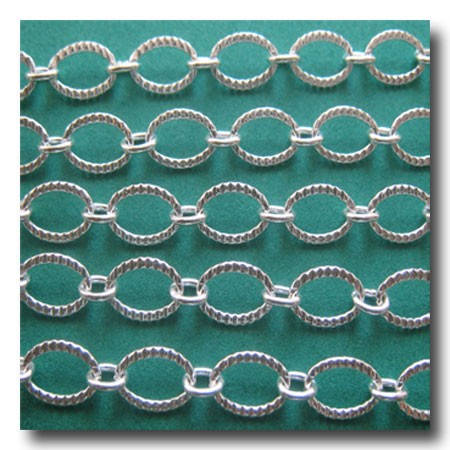 Silver Plate Crimped Oval Style Chain