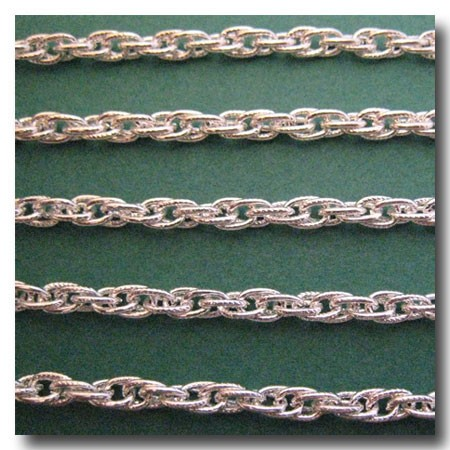 Silver Plate Etched Rope Style Chain 4mm