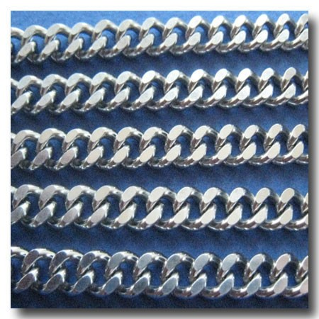 Stainless Steel Large Diamond Cut Loose Knit Boxcar Curb Chain 6mm