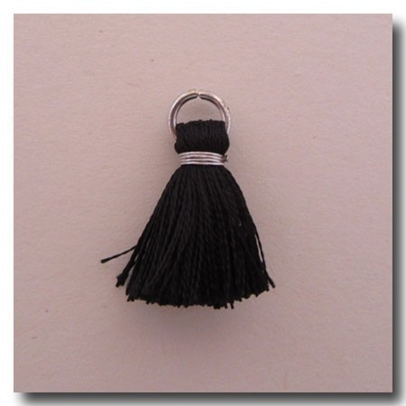 Silk Tassel | Half Inch | Black | Antique Silver Jump Ring