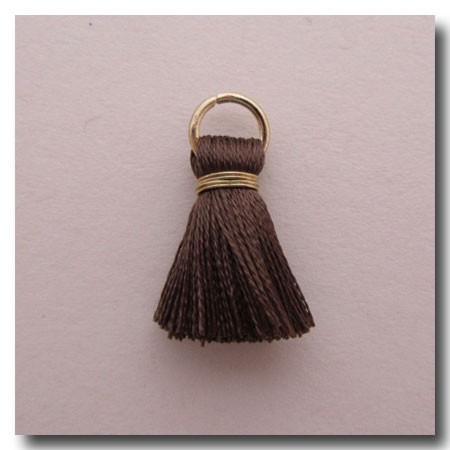 Silk Tassel | Half Inch | Taupe | Antique Gold Jump Ring