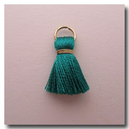 Silk Tassel | Half Inch | Teal | Antique Gold Jump Ring